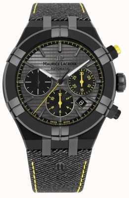 Maurice Lacroix Correa de aikon edición limitada 'perseguir su reloj' negro AI6018-PVB01-331-1