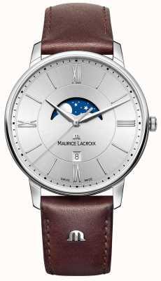 Maurice Lacroix Correa de cuero marrón marca eliros para hombre Eliros moonphase EL1108-SS001-110-1