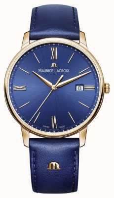 Maurice Lacroix Hombres eliros chapado en oro caja azul correa de cuero EL1118-PVP01-411-1