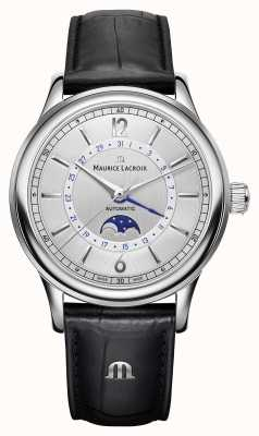 Maurice Lacroix Correa de cuero negro Les classiques mens moonphase LC6168-SS001-120-1