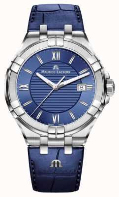 Maurice Lacroix Aikon mens azul dial correa de cuero azul AI1008-SS001-430-1