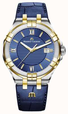 Maurice Lacroix Correa de cuero de dos tonos para hombre aikon azul y dorado AI1008-PVY11-432-1