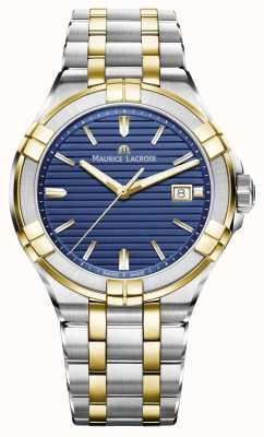 Maurice Lacroix Mens aikon dos tonos de acero inoxidable azul AI1008-PVY13-433-1