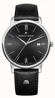 Maurice Lacroix Correa negra de cuero negro para hombres marca EL1118-SS001-310-1