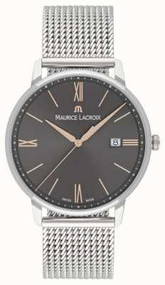 Maurice Lacroix Pulsera de malla eliros para hombre esfera negra con detalles en oro EL1118-SS002-311-1