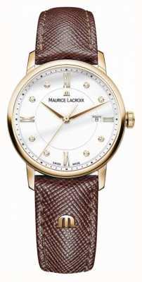 Maurice Lacroix Estuche chapado en oro con correa de cuero marrón mujer de eliros EL1094-PVP01-150-1
