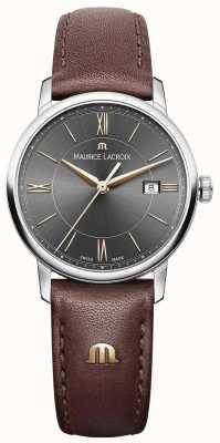 Maurice Lacroix Correa de cuero marrón eliros para mujer con detalles en dorado EL1094-SS001-311-1