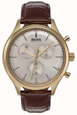 Hugo Boss Reloj de cronógrafo compañero de hombre correa de cuero marrón 1513545