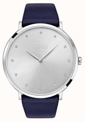 Hugo Boss Reloj jillian para mujer correa de cuero azul 1502410