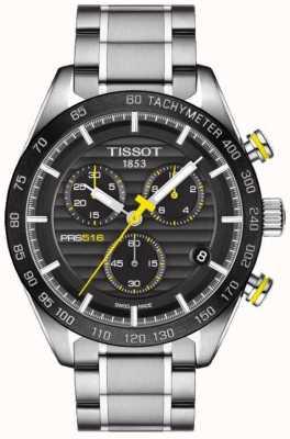 Tissot Mens prs 516 cronógrafo esfera negra pulsera de acero inoxidable T1004171105100