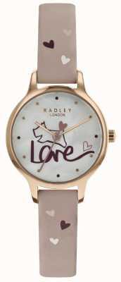 Radley Reloj de pulsera de cuero para mujer con reloj de amor rosa RY2576