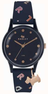 Radley Letras para mujer reloj silicona azul marino RY2600