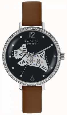 Radley Reloj para perro folklórico para mujer esfera negra correa de cuero marrón RY2585