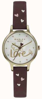 Radley Reloj para mujer reloj correa de cuero chapado en oro RY2578