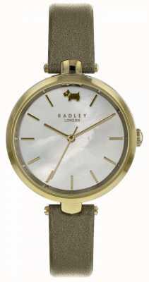 Radley Reloj de cuero para mujer shimmer verde oliva st dunstans RY2550
