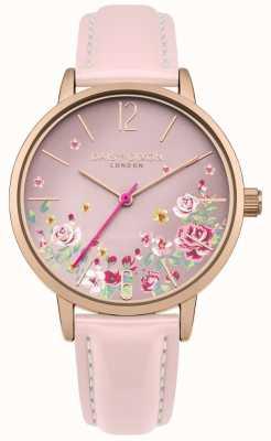 Daisy Dixon Correa de cuero rosa para mujer dial floral rosa DD073PRG