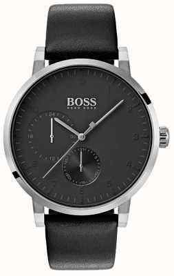 Hugo Boss Mens oxígeno todo reloj negro correa de cuero sunray dial 1513594
