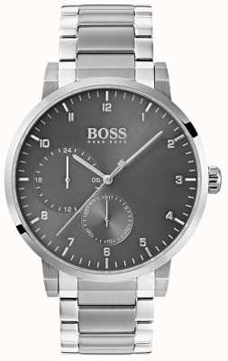 Boss Reloj de hombre de oxigeno gris acero inoxidable pulsera sunray dial 1513596