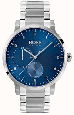Boss Reloj de hombre azul oxigenado acero inoxidable pulsera sunray dial 1513597