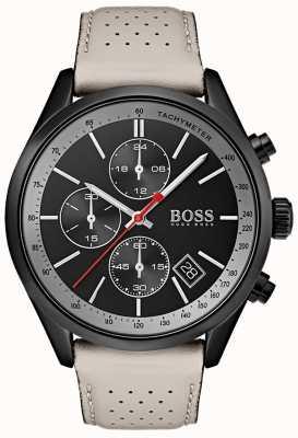 Hugo Boss Reloj para hombre grand-prix correa de cuero gris cronógrafo negro 1513562
