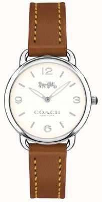 Coach Reloj de pulsera de cuero marrón delgado delancey para mujer con esfera blanca 14502789