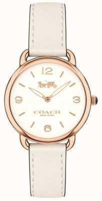 Coach Reloj de pulsera de cuero blanco delgado delancey para mujer esfera blanca 14502790