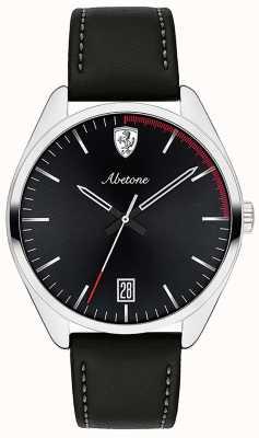 Scuderia Ferrari Reloj de pulsera de cuero negro para hombre abetone negro esfera 0830501