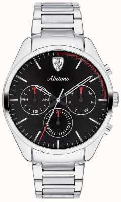 Scuderia Ferrari Reloj de pulsera de acero inoxidable para hombre abetone negro crono. 0830505