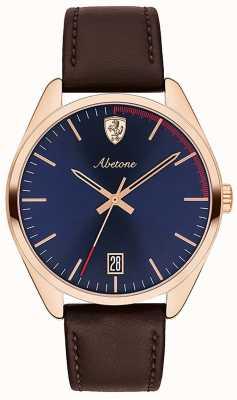 Scuderia Ferrari Reloj para hombre abetone marrón cuero correa esfera azul 0830500