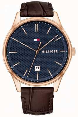 Tommy Hilfiger Reloj damon para hombre correa de cuero marrón esfera azul 1791493