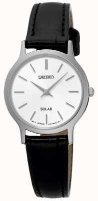 Seiko Reloj de pulsera de cuero negro solar para mujer SUP299P1