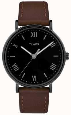 Timex Mens southview 41mm correa de cuero marrón esfera negra TW2R80300D7PF