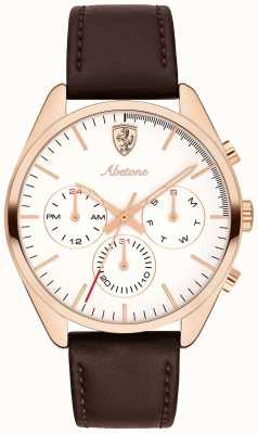 Scuderia Ferrari Correa hombre cuero abetone marrón reloj esfera blanca 0830504
