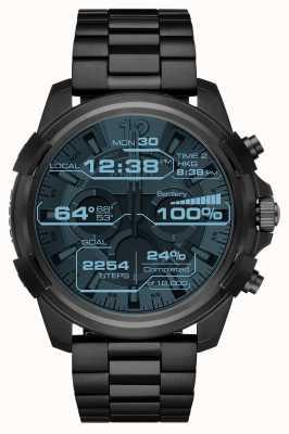Diesel Reloj protector negro plateado iónico con pantalla táctil para hombre DZT2007