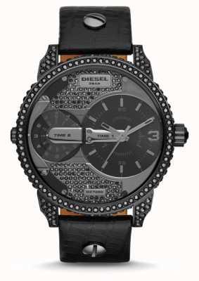 Diesel Reloj mini correa de cuero negro para hombre DZ7328