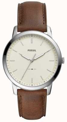 Fossil Reloj de pulsera de cuero marrón minimalista para hombre FS5439