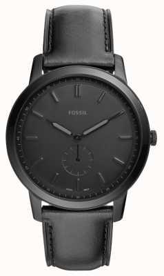 Fossil Reloj minimalista de correa de cuero negro para hombre FS5447