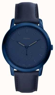 Fossil Reloj de pulsera de cuero azul minimalista para hombre FS5448