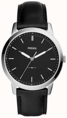 Fossil Reloj minimalista de correa de cuero negro para hombre FS5398