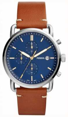 Fossil Reloj de hombre de color azul cronógrafo correa de cuero marrón FS5401
