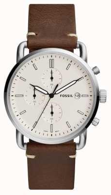 Fossil Correa de cuero marrón del cronógrafo blanco del reloj del viajero para hombre FS5402