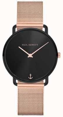 Paul Hewitt Unisex miss ocean line 32mm esfera negra malla oro rosa PH-M-B-BS-4S