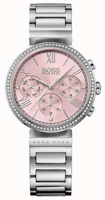 Hugo Boss Brazalete de acero inoxidable con bisel de acero inoxidable y cristal rosa 1502401