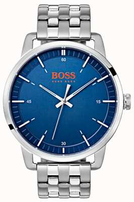 Hugo Boss Orange Pulsera de acero inoxidable azul plateado para hombre Estocolmo 1550076