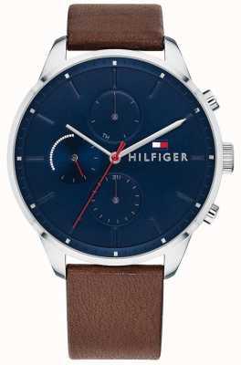 Tommy Hilfiger Reloj de pulsera de cuero marrón cronógrafo chase de hombre azul 1791487