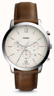 Fossil Correa de cuero neutra chrono para hombre FS5380