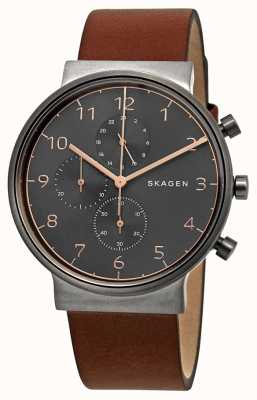 Skagen Cronógrafo para hombre ancher black dial correa de cuero marrón SKW6418
