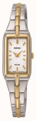 Seiko Pulsera de dos tonos para el rectángulo solar de las mujeres SUP272P9