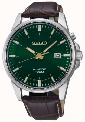 Seiko La fecha cinética verde de los hombres muestra la correa de cuero marrón SKA753P1