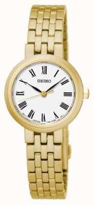 Seiko Cuarzo blanco de los hombres números romanos pulsera de oro amarillo SRZ464P1